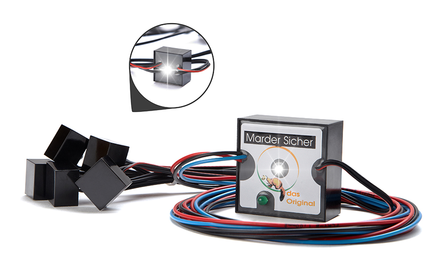 Produktaufnahme des MarderBLITZ (Marderschutz-System)
